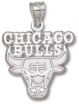 Chicago Bulls 1'' Sterling Silver Bull Logo Pendant