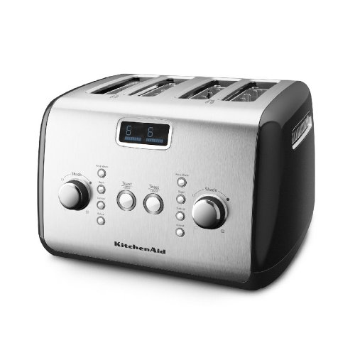 Kitchenaid Digital Display Kmt423ob 4-slice Toaster Black & St Steel Electronic Fast Shipping By Fedex
