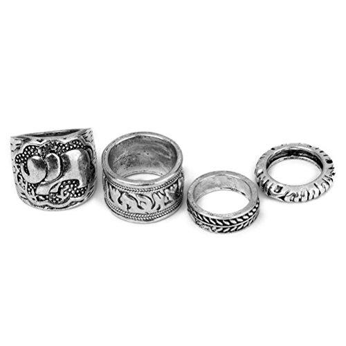 LEORX 4 anelli Vintage pack congiunta Ring Set - intaglio Pattern (argento antico)