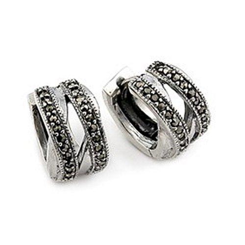 Double Twisted Marc Huggie Sterling Silver Earrings
