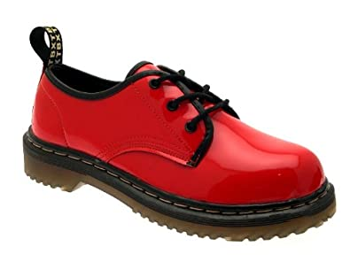 WOMENS GIRLS LADIES BOYS WORK SCHOOL FORMAL LACE UP FAUX LEATHER RED PATENT 2