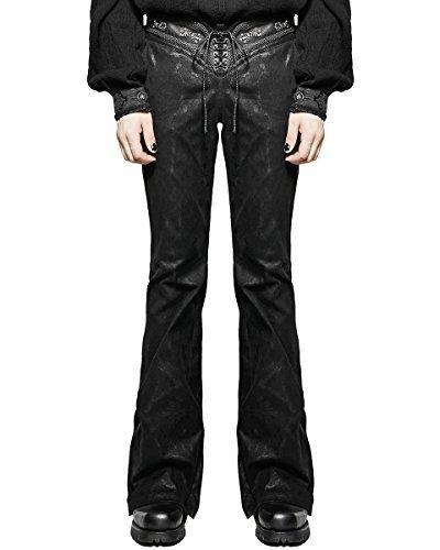 Punk Rave Pantaloni Da Uomo Jeans Neri A campana Svasati Gotico Dieselpunk Rock Star VINTAGE - Nero, Large