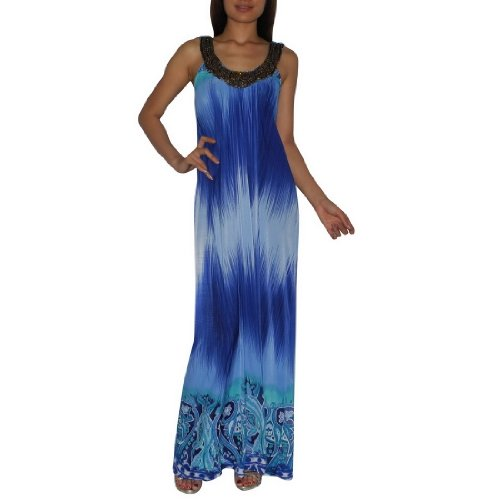Womens Thai Exotic Sexy Full-Length Elegant Wide Straps Long Dress / Party Dress - Size: M-L