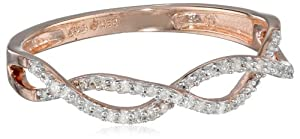 14k Rose Gold Plated Sterling Silver Diamond (0.15cttw, I2-I3 Clarity) Twist Ring, Size 8