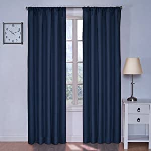 Eclipse Kids Kendall Blackout Thermal Curtain Panel Denim 42 Inch X 63 Inch Home