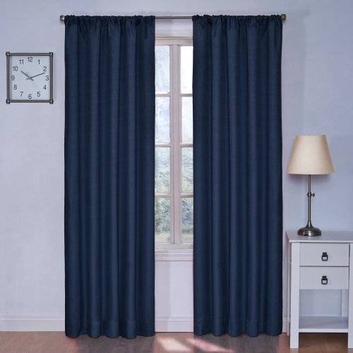Eclipse Kids Kendall Blackout Thermal Curtain Panel,Denim,63-Inch front-8946