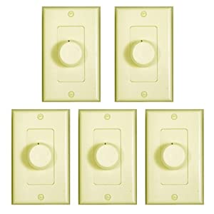 Theater Solutions 5 New Ivory Wall Mount Impedance Matching Speaker Dial Volume Control Switches 5TSVCD(I)