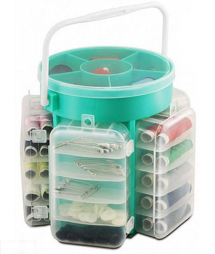 Ukayed ® - Set da cucito da 210 pezzi, con bottoni, fili, aghi e spilli