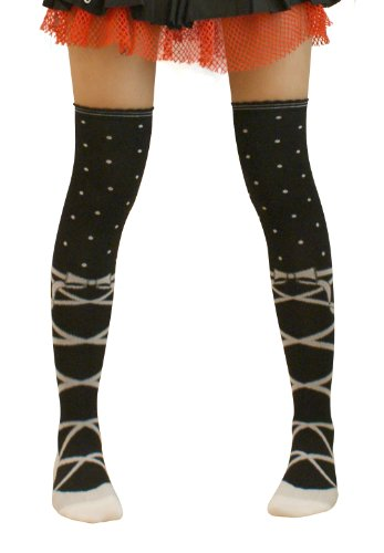 black & White lolita ballet shoes print over knee socks stockings thigh highs