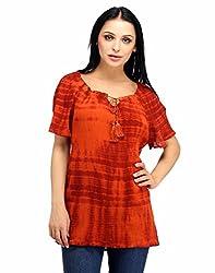Snoby Orange Color Georgette Top (SBY1037)
