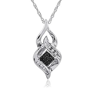 Black and White Diamond Pendant Necklace in Sterling Silver