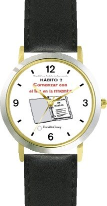 Watchbuddy Habit 2 - Begin With The End In Mind Spanish Text - Deluxe Two-tone Watch From The 7 Habits - Watch Collection By Watchbuddy - Arabic Numbe