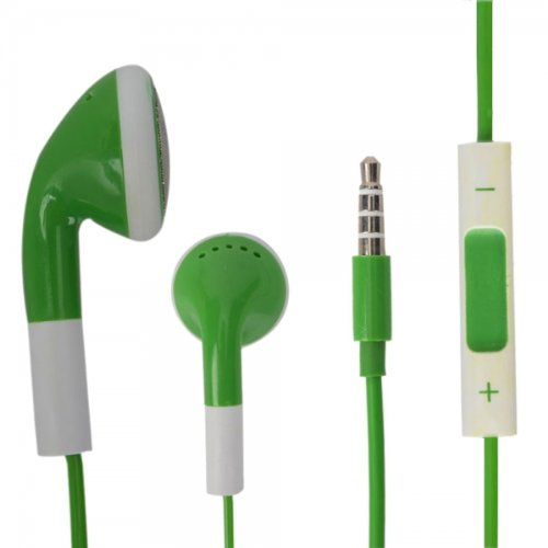 Green 3.5Mm Stereo Fashion Earphone Headsets With Volume Control & Microphone For Best Buy Insignia Flex (By Things Needed)