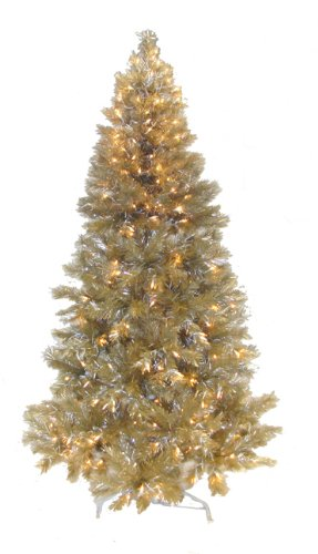 4.5' Pre-Lit Champagne Retro Tinsel Artificial Christmas Tree - Clear Lights