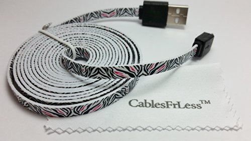 10Ft (10 Feet 10') Tangle Free Noodle Style Micro B Usb Charging / Data Sync Cable Fits Android Samsung Galaxy Htc Lg Pantech Blackberry Motorola Sony Zte (Zebra Print)