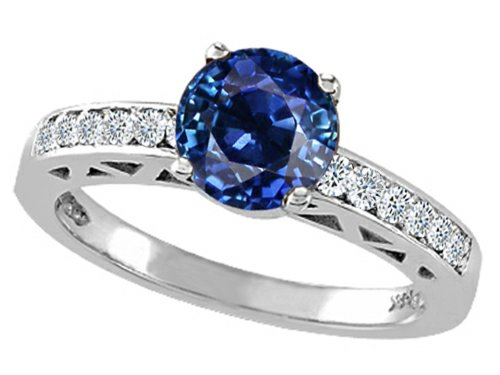 Tommaso Design Created Sapphire And Diamond Solitaire Engagement Ring 14K Size 4.5