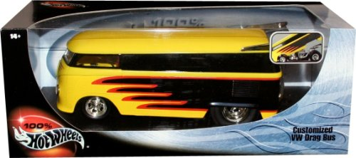 CUSTOMIZED VW DRAG BUS * Yellow & Black * 1:18 Scale Hot Wheels Collectibles Deluxe Vehicle & Display Base