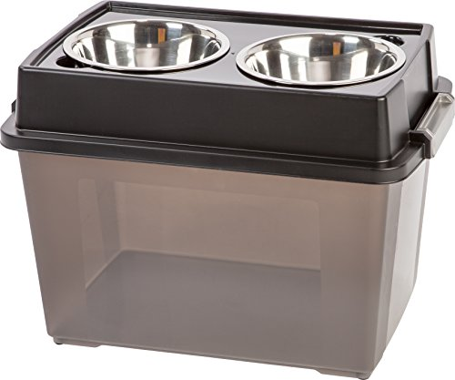 IRIS Large Elevated Feeder with Airtight Storage, Black (Dog Food Storage Stainless Steel compare prices)