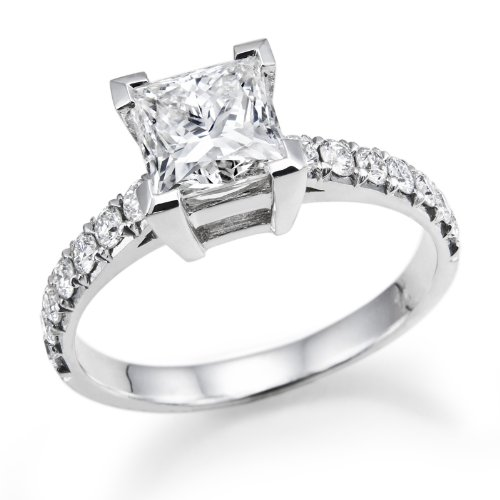 1 Carat Princess Cut Diamond Solitaire Engagement Ring in 18k White Gold