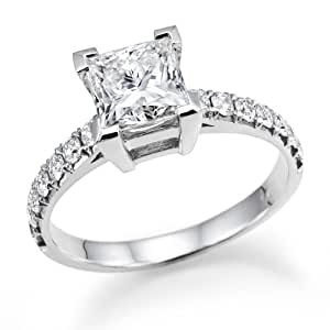 1.20 ctw. Princess Cut Diamond Solitaire Engagement Ring in 18k White Gold (E Color, VS2 Clarity enhanced)