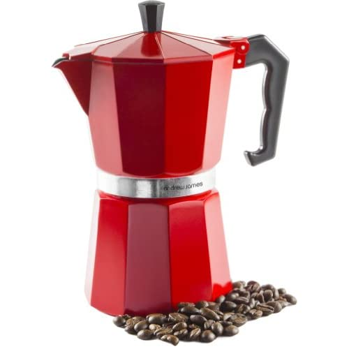 Andrew James 6 Cup Red Espresso Coffee Percolator In A Traditional Italian Style Design For Stove Tops - Includes...