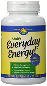 Everyday Energy Once Daily Multivitamins without Iron, Tablets for Adult Men & Women, includes Organic Spirulina, Chlorella, Alfalfa Juice, 5 B Vitamins & A, C, D & E plus Minerals to Support Good Health, 60 Day Supply - Best Satisfaction Guaranteed