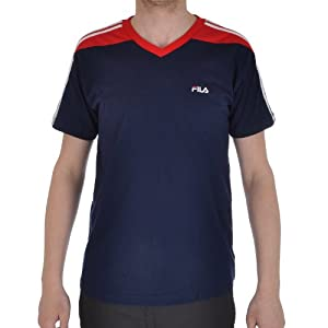 Fila Delivery Mens Cotton V Neck Top - Navy - L