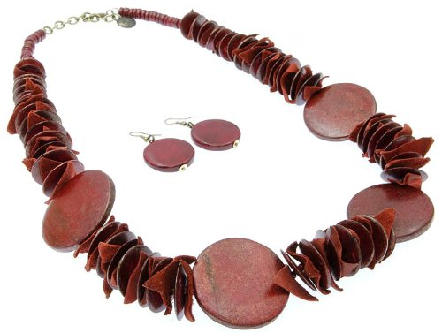 NECKLACE AND EARRING SET BEAD WOODEN RED Fashion Jewelry Costume Jewelry fashion accessory Beautiful Charms