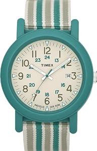 Timex Originals T2N491 Unisex Originals White Dial Green Stripped Strap Watch