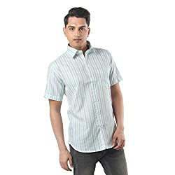 ZIDO Green Blended Men's Striped Shirts PCFLXHS1301_Green_42