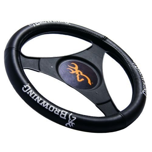 Browning Genuine Leather Steering Wheel Cover (Black Cover, White Logo, Sold Individually) (Steering Wheel Covers For F150 compare prices)