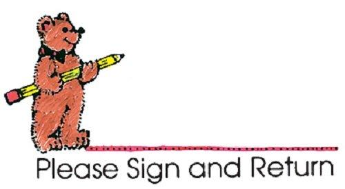 "Center Enterprise CE427 ""SIGN & RETURN BEAR & PENCIL"" Stamp"