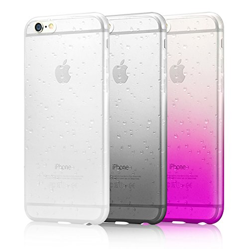 "iPhone 6s Plus Case, iPhone 6 Plus case, Eversame Bundle of 3 Ultra Slim 3D Water Drop Raindrop Clear Gradient Soft TPU Back Cover Case For iPhone 6 Plus(2014)/6s Plus(2015) 5.5""(Black White Pink)"