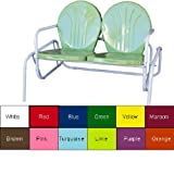 """Retro Metal Double Glider (Lime) (32""""H x 49""""W x 34""""D)"""