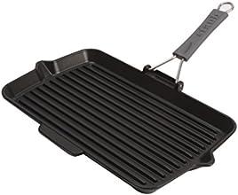 Staub Grillpfanne rechteckig mit Silikongriff (34 x 21 cm, induktionsgeeignet, mit mattschwarzer Emaillierung im Inneren der Pfanne) schwarz