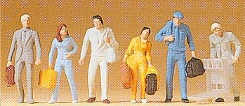 Passengers Walking w/Luggage (6) HO Scale Preiser Models