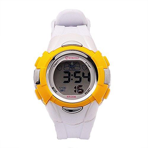 8Years - 1 Mode Kinder Digitaluhr Armbanduhr Stoppuhr Wasserdicht Outdoor Gelb