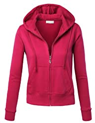 MBJ Womens Comfortable Basic Soft Zip Up Fleece Hoodie Jacket