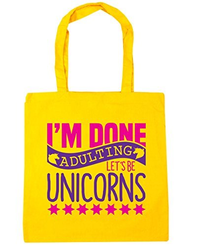 HippoWarehouse I'm Done Adulting Let's Be Unicorns Borsa grande Spesa Palestra Borsa Da Spiaggia 42cm x38cm, 10 litri - cotone, Giallo, 100% cotone 100% cotone, Donna, One size