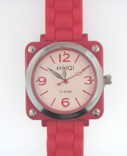 Bright Red Watch With Large Square Case And Screws On Each Corner With Round Face Center. Silicone Rubber Gel Watch Link Look Ceramic Style. Color Of Casing Coordinates With Band Color. Handles Are Glow In The Dark.