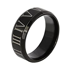 buy Um Jewelry Roman Numeral Stainless Steel Mens Womens Ring Black Wedding Band