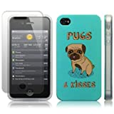 iPhone 4S / iPhone 4 Pugs & Kisses (Designed by Creative Eleven) Image TPU Gel Skin / Case / Cover + Screen Protector - Part Of The Qubits Accessories Rangeby Qubits