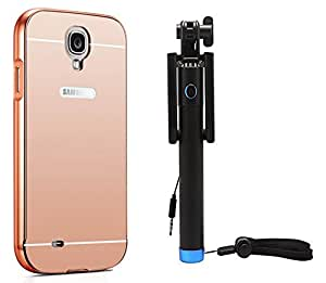 Novo Style Back Cover Case with Bumper Frame Case for Samsung I9500 Galaxy S4  Rose Gold + Wired Selfie Stick No Battery Charging Premium Sturdy Design Best Pocket Sized Selfie Stick