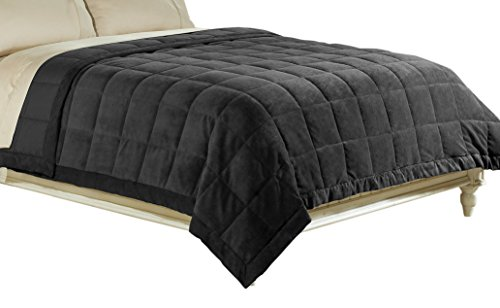 Luxlen Microfiber Blanket, Reversible: Soft Plush to Satin Cool, Staintech Treated, King/California King, Black (Big Blanket compare prices)