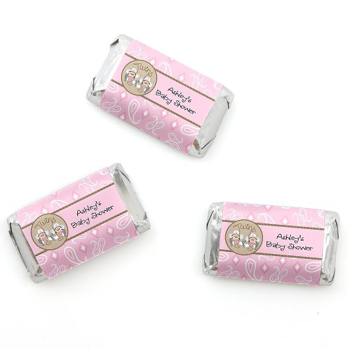 Twin Little Cowgirls - Personalized Baby Shower Mini Candy Bar Wrapper Favors - 20 Ct front-803413