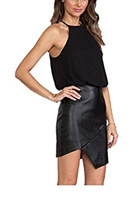 Cfanny Women's Halter Chiffon Top Fashion Mini Dress