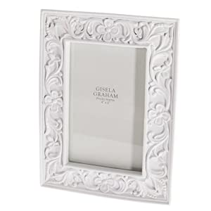 Gisela Graham White China Floral Shabby Chic Photo Picture Frames 4 x