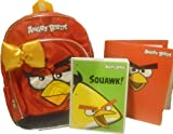 Popular Angry Birds 16 Inch Kid's Backpack with Adorable Orange Satin Bow & BONUS FOLDER & SPIRAL NOTEBOOK Bundle
