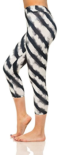 Women's Active Workout Printed Capri Leggings Yoga Pants Fitted Tights Plus Size (Largeq, White 2114)