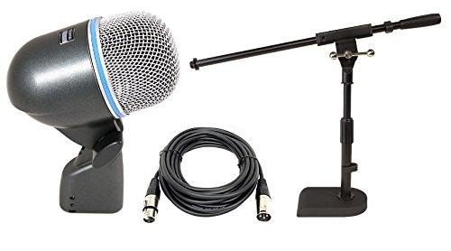 Shure Beta 52A Dynamic Kick Drum Microphone W/Free Jamstands Heavy-Duty Mic Stand With Boom & 25Ft Microphone Cable
